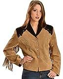 Liberty Wear Women's Suede Fringe Studded Jacket Plus Brown 2X