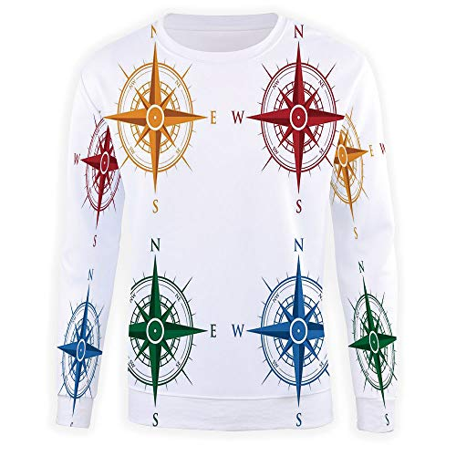 Men's,Compass,Crewneck Sweatshirt for sale  Delivered anywhere in USA