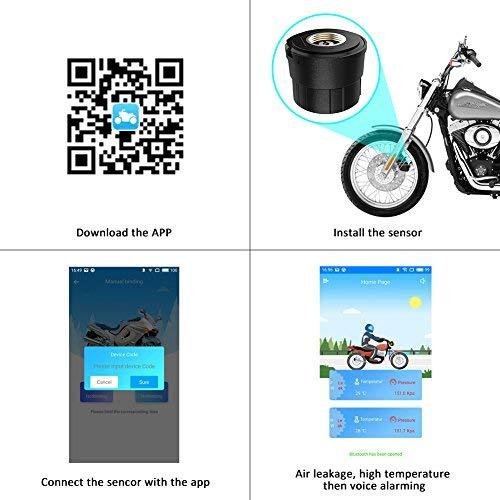 Autmor TPMS Presión de Neumáticos Manómetro de Motocicleta con Función Antirrobo, Sistema de Control de Presión de Neumáticos con 2 Sensores Monitor de ...