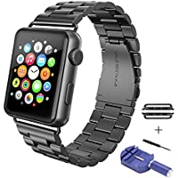 Sundo Solid Stainless Steel Metal Replacement iWatch Strap Unique Polishing Process Business with adapter Accessories for Apple Watch band Series 2 ,Series 1 (black 42mm)