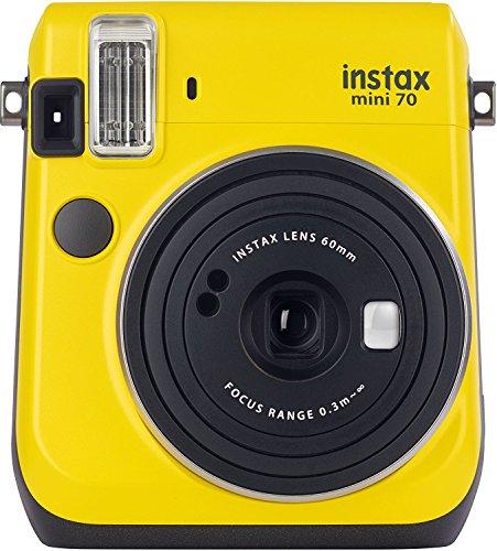 Fujifilm CPL7B101-200 Camara Instantanea Instax Mini 70, Fotos Tamano Tarjeta de Credito, Fujinon 60mm f/12.7 Lens, amarilla