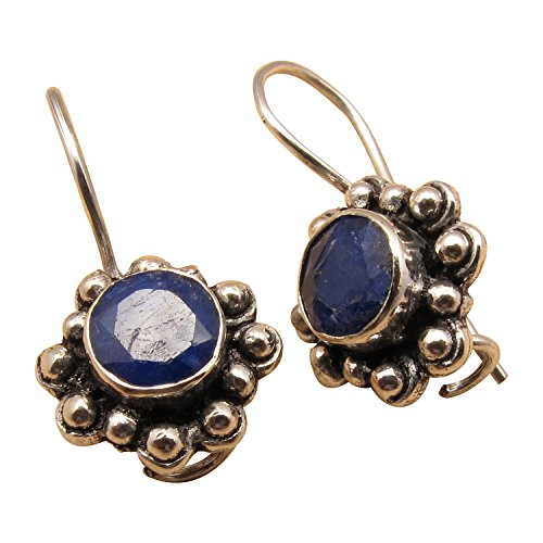 - 925 Sterling Silver Plated CUT SAPPHIRE September Birthstone HANDCRAFTED Earrings INDIAN JEWELLERS