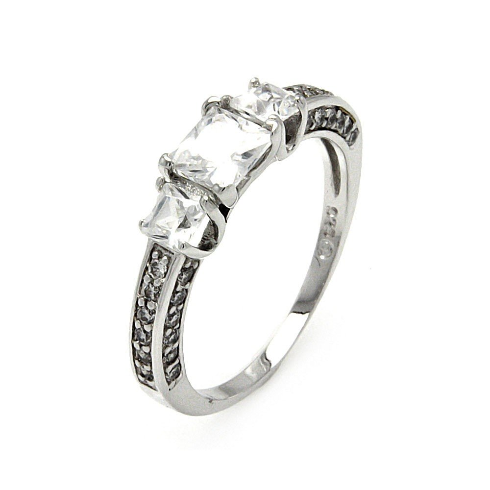 Clear Square Cubic Zirconia Past Present Future Style Ring Rhodium Plated Sterling Silver