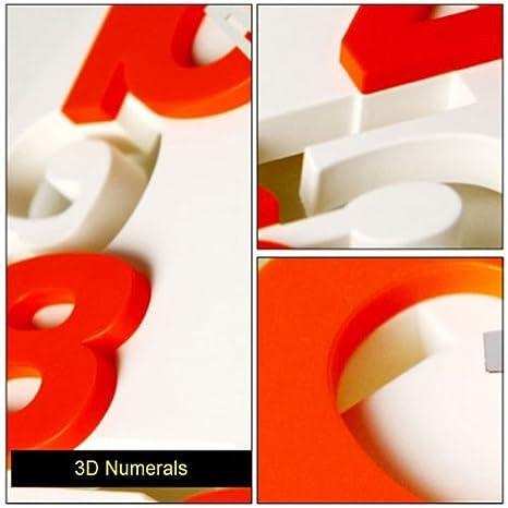 Amazon.com: GMMH Quiet Bathroom Clock 8808 3D Design Modern Wall Clock Wall Clock Office Clock (White Orange): Kitchen & Dining