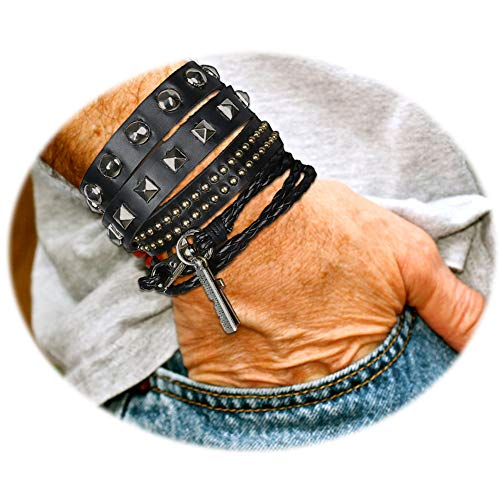 Rivet Leather Bangle - LOLIAS 2 Pcs Multilayer Rivet Punk Rock Bracelet Woven Braided Leather Bracelets for Men Women Cuff Bangles Wrist Adjustable,Rivet
