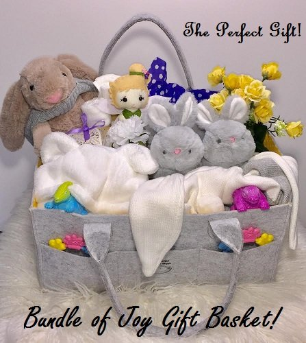 - MOM Will SAY,Wow! Bundle of Joy Baby Gift Basket/Large Bag, Soft Washcloths, Bunny Plush Toy, Bunny Slippers, Keepsake Bunny Blanket, Bunny Hat, Handmade Tooth Fairy kit, and More!