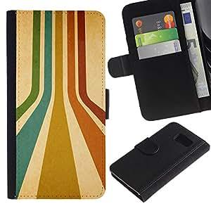 KingStore / Leather Etui en cuir / Samsung Galaxy S6 / Rayas retras Colores Líneas turquesa rojo del arte