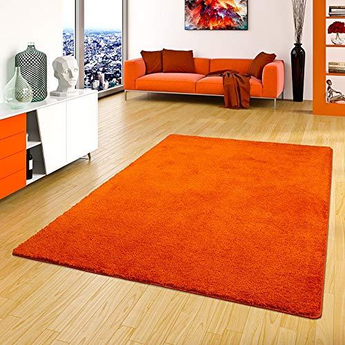Palace Hochflor Shaggy Teppich Orange in 24 Größen