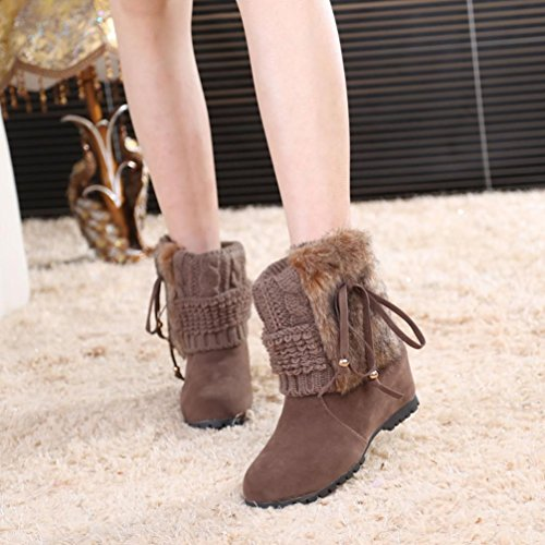 Outdoor Plush Boots Flat Boots Sikye Ankle knot Short Winter Shoes Butterfly Khaki Snow Warm Women's 0nqZw4