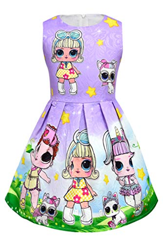 Girls Summer Dress Printed Cute Sleeveless Dresses Party Holiday kid For Lol Surprise Dolls for $<!--$18.99-->