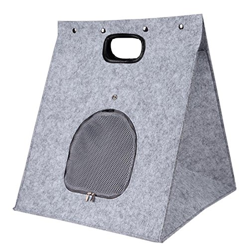 Grey Buildent(TM) Foldable Small Dog Bed Cat House Felt Cloth Removable Dog Bed Animal Cave Nest Pet House Kennel Mat Dog Products [Grey ]