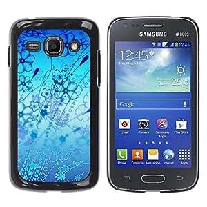 QCASE / Samsung Galaxy Ace 3 GT-S7270 GT-S7275 GT-S7272 / flores océano azul del papel pintado arte de la naturaleza / Delgado Negro Plástico caso cubierta Shell Armor Funda Case Cover
