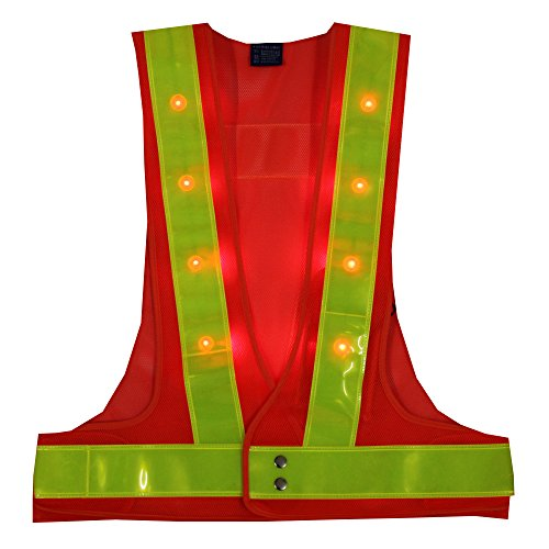 YOA 16 LED Light up Cycling Traffic Outdoor Night Safety Warning Vest (Led Safety Vest Orange) (Vests Lights Safety)