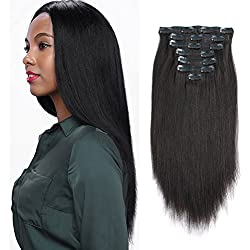 AmazingBeauty Real Remy Thick Yaki Human Hair Natural Black Clip in Extensions for African American Relaxed Hair, 7 Pieces, 120 Gram Per Set, 12 Inch