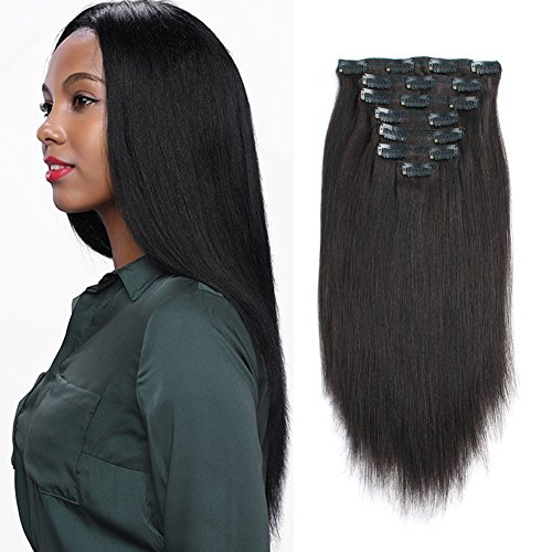 AmazingBeauty Real Remy Thick Yaki Hair Clip In Hair Extensions for African American Relaxed Hair 7 Pieces 120 Gram Per Set, 18 Inch