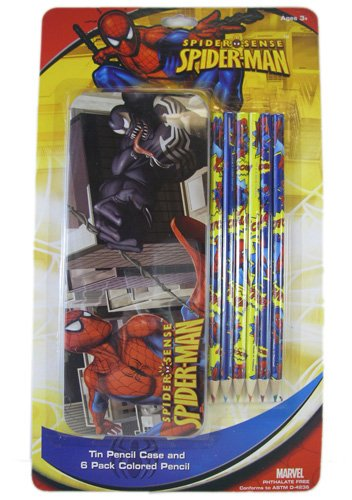 SpiderMan Tin Pencil Case and 6 Pack Coloured Pencil - Spider-Man Pencil Case   B0058EWI9O