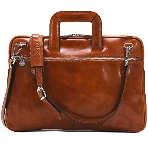 Floto Firenze Slim Briefcase in Olive Brown Calfskin Leather - Firenze Card Case