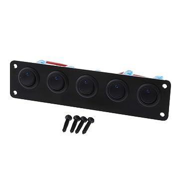 Keensso 12-24V 6 Gang Wippschalter Panel Wasserdicht LED Lichtleiste Schalter Panel Professionelles Design f/ür Auto RV Boot Yacht Marine Einfache Installation Blau
