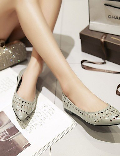 pisos talón plano de piel uk6 us8 gris zapatos señaló PDX de cn39 sintética eu39 púrpura mujer toe Casual purple YBzEqgx