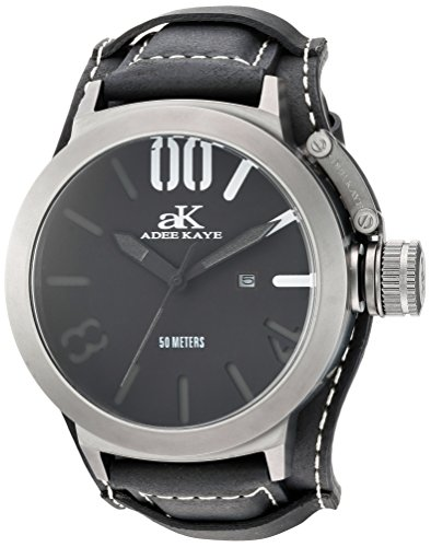Adee Kaye Men's Quartz Stainless Steel and Leather Dress Watch, Color:Black (Model: AK7285-MIPB/BK-BK-Wide)