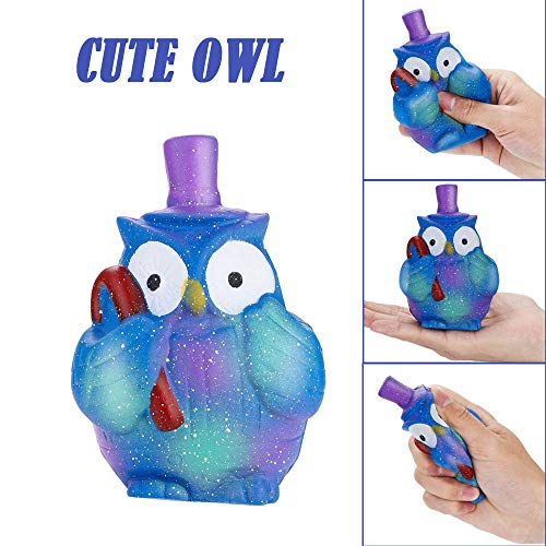 Cute Animal Squishy, Cream Scented Charming Slow Rising Squishy fit Kid Toy, Stress Relief Toy, Christmas Decorations Toy Gift Cute Owl (Blue) -