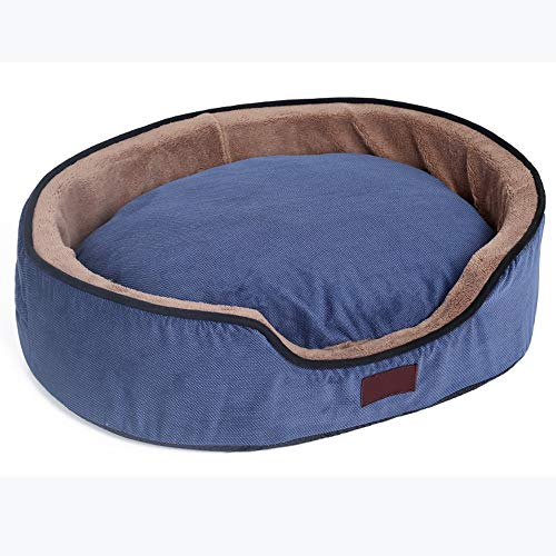 (Alppq Coral Fleece Kennel Small Medium Dog Washable Four Seasons Universal Cat Nest Granular Sponge Blue Round Or Oval Easy to Clean Plush Dog Bed Pet Cave Comfort Pet Bed Deluxe Soft Cat Dog Bed )