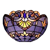 12 Inch Tiffany Style Wall Sconce Lamp Night Light With Red Stained Glass Dragonfly for Living room (S003C)