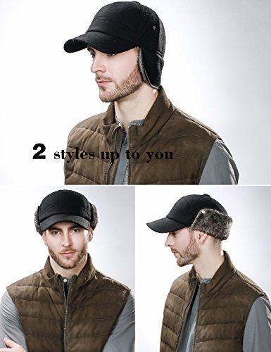 cce39a8b572 SIGGI Winter Wool Baseball Cap Earflap Fitted Hats Men Soft Faux Fur  Hunting Hat