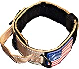 """DOG COLLAR WITH CONTROL HANDLE QUICK RELEASE METAL BUCKLE HEAVY DUTY MILITARY STYLE 2"""" WIDTH NYLON WITH USA FLAG GREAT FOR HANDLING AND TRAINING LARGE CANINE MALE OR FEMALE K9 (TAN NEW BUCKLE)"""