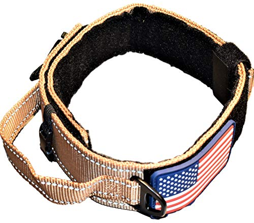 DOG COLLAR WITH CONTROL HANDLE QUICK RELEASE METAL BUCKLE HEAVY DUTY MILITARY STYLE 2' WIDTH NYLON WITH USA FLAG GREAT FOR HANDLING AND TRAINING LARGE CANINE MALE OR FEMALE K9 (TAN NEW BUCKLE)