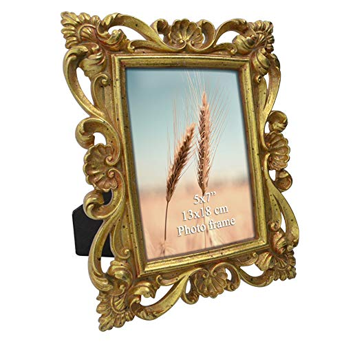 Decorative Frames Photo (PETAFLOP 5x7 Golden Picture Frames Decorative for 5 by 7 Photo with Real Glass)