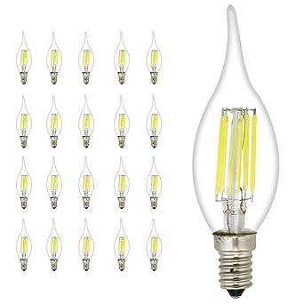 20 unidades C35 E14 LED Vela Bombilla 6 W, equivalente a 45 W bombillas,