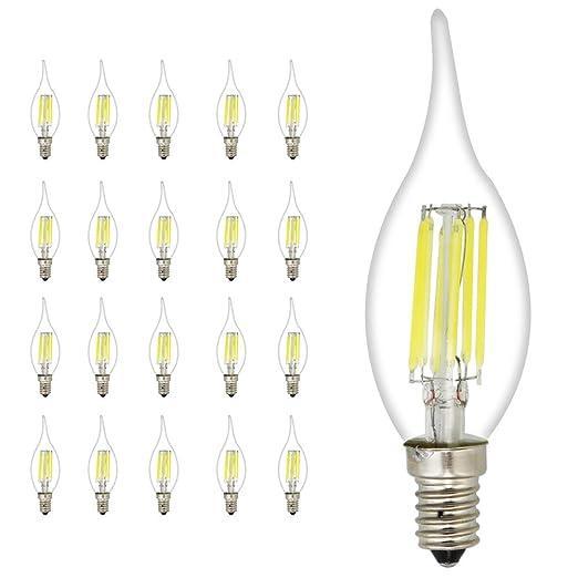 20 unidades C35 E14 LED Vela Bombilla 6 W, equivalente a 45 W ...