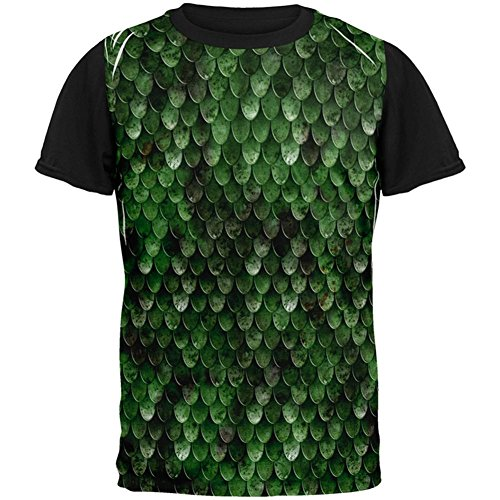 Mens Wood Elf Costume (Halloween Wood Elf Scale Mail Armor Costume All Over Mens Black Back T Shirt Multi MD)
