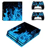UUShop PS4 Pro Skin Vinyl Decal Cover for Sony PlayStation PRO Console Sticker Blue Ice Flame Fire