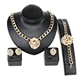 Gold/Silver Plated Lion Head Chain Statement Necklace Bracelet Earring Ring Jewelry Set