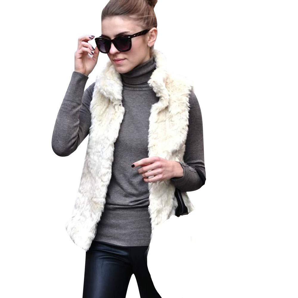 JOFOW Womens Solid Faux Fur Vest,Stand Collar Sleeveless Cardigans Fuzzy Warm Chic White Jacket Outwear (S,White)