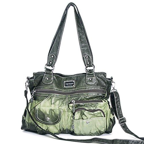 Handbag Hobo Women Bag Roomy Multiple Pockets Street ladies' Shoulder Bag Fashion PU Tote Satchel Bag for Girl (AK118-1 Green)