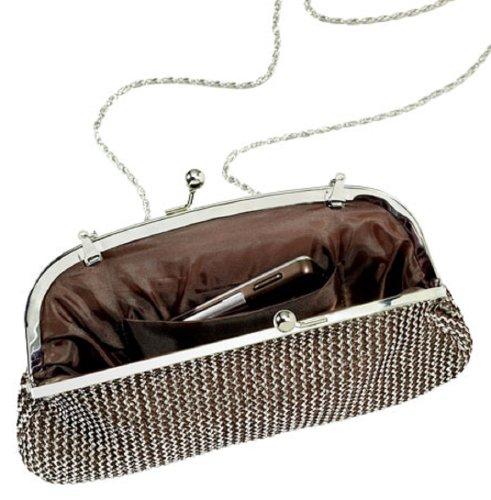 Marianne cadena Mail embrague bolso de mano (plata/estaño color) con desmontable cadena
