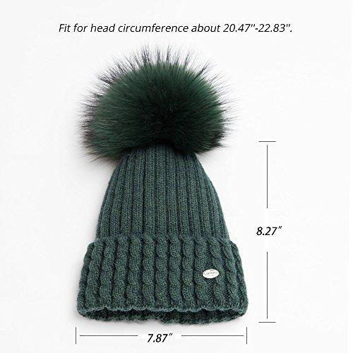 79a9f053512 Womens Pom Pom Knit Beanie Hats--Real Fox Fur Winter Wool Cuff Cap ...