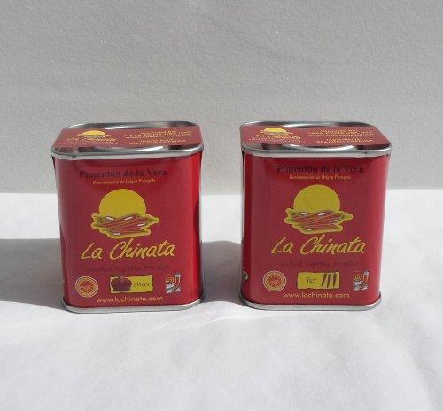 (La Chinata Smoked Paprika, 1 Sweet, 1 Hot 70gr Each (2 Tins) Gluten Free)