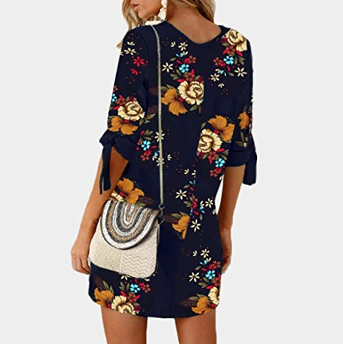 Blue Dark Mini Party Bowknot Floral Print Cocktail Women s 1 Sleeves Loose Dress Casual Dresses 0xHfwWOq7