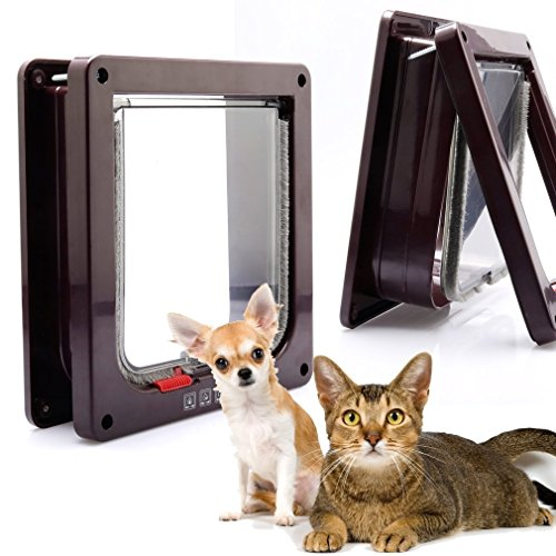 4-Way Locking Indoor Outdoor Pet Door Kit for Cat and Small Dog with Telescopic Frame 3 Sizes and 2 Colors to Choice(L, Brown)