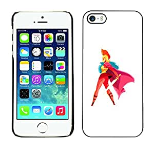 GOODTHINGS Funda Imagen Diseño Carcasa Tapa Trasera Negro Cover Skin Case para Apple Iphone 5 / 5S - espada del cabo heroína mujer roja arte rubia