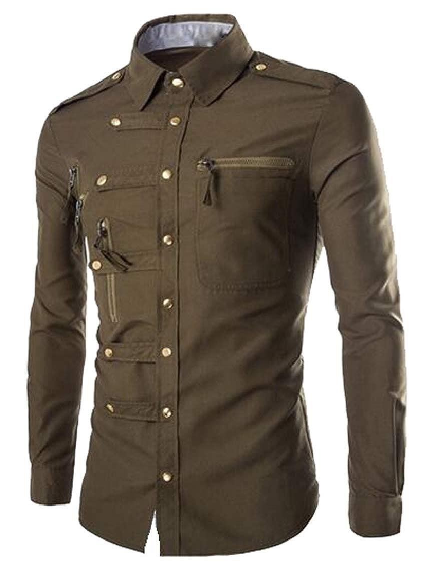 Yayu Mens New Contrast Zipper Trim Slim Fit Long Sleeve Button up Dress Shirt