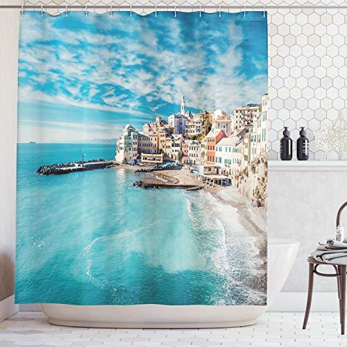(Ambesonne Farm House Decor Shower Curtain, Panorama of Old Italian Fish Village Beach Old Province Coastal Charm Image Fabric Bathroom Decor Set with Hooks, 70 Inches, Turquoise)