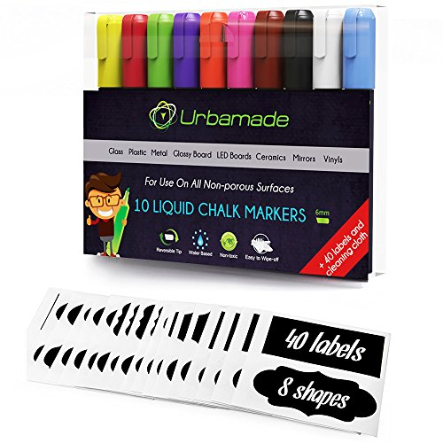 Glow Message Board - Liquid Chalk Markers Set (10 Pens) by Urbamade. Non Toxic, Water Based Art Supplies for Kids, Crafters and Teachers - Safe, Odorless and Erasable. Includes 40 Chalkboard Labels and Cleaning Cloth