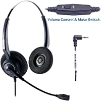 Arama Telephone Headset with BOOM Mic Volume Mute 2.5mm Jack for Cisco Linksys SPA Polycom Panasonic Zultys Gigaset Grandstream Office IP and Cordless Dect Phones (CTH-J25D)