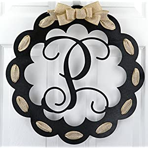 Letter P - Monogrammed Door Hanger | Mom Gift | Black and Burlap Everyday Year Letter Door Hanger 20