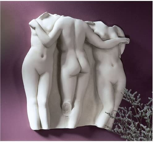 XoticBrands 15″ Hellenistic Masterpiece Paris French Three Nude Graces Wall Fragment Scul.
